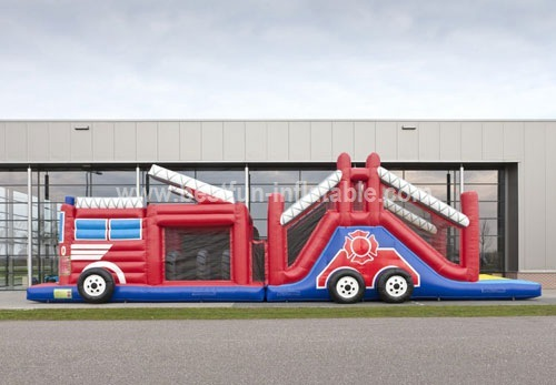 Fire Truck Inflatable Obstacle Course