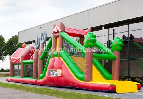 Inflatable farm obstacles bouncer for adult
