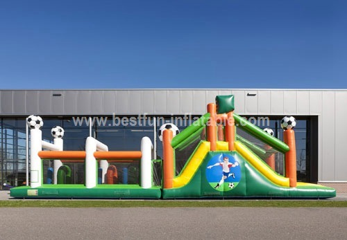 PVC trampolin inflatable football challege obstacle