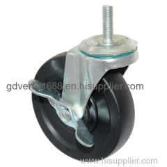 4 inches black nylon industrial casters with grip stem fitting and side brake
