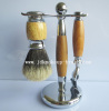 Wood handle metal base shaving brush set