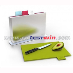 Plastic kitchen cutting board with stand set