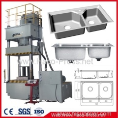4 Column Hydraulic press Deep Drawing Press 80 ton Hydraulic press 80 tons SS Kitchen Sink Deep Drawing Press