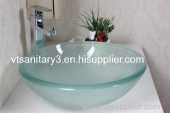 Pedestal glass basin pedestal tempered glass basin vanity