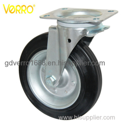 8 inches black solid rubber wheel iron core swivel casters for garbage container
