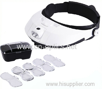 Head magnifier with 2 led light and five lens