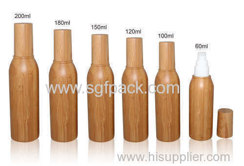 bamboo lotion bottle pump bottle and cap inner plastic bottle