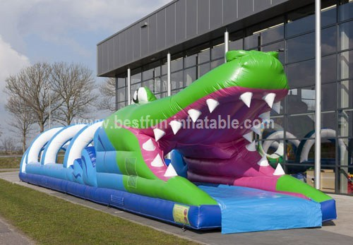 Inflatable crocodile slip pool