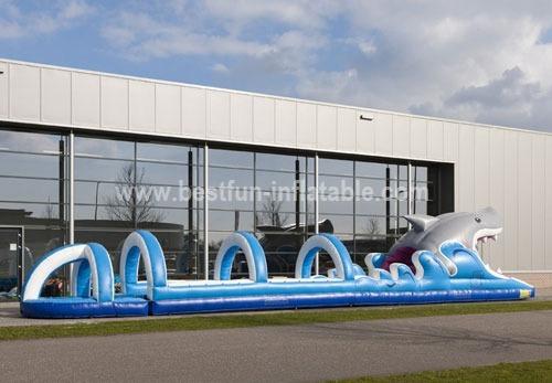 Inflatable shark water slide slip