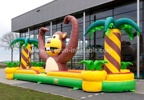 Monkey inflatable bungee run game