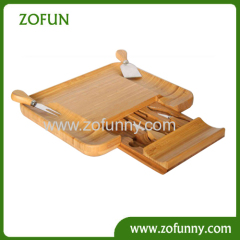 High quality bamboo cheese board with 4pcs knife set