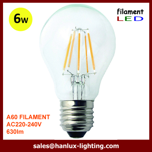 E27 A60 Standard 6W LED filament bulbs