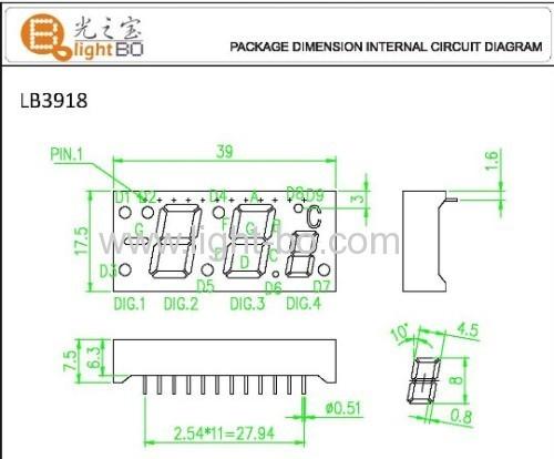 Custom Super Red 7 Segment LED Display for Digital Temperature Indicator