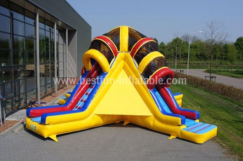 Hot commercial vulcano inflatable slide for sale