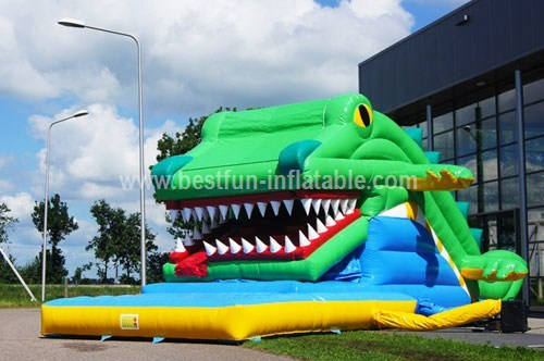 Inflatable crocodile slide combo
