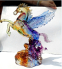 liu li manufacturer crystal colored glaze flying horse craft for hotel bank decoration