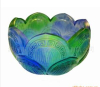 crystal colored glaze lotus seat----- liu li art glass craft