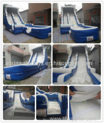 Blue Inflatable wate slide with pool