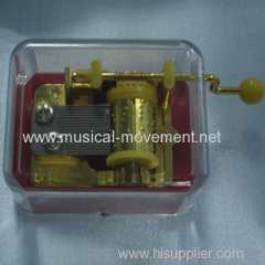 HAND CRANK TRANSPARENT MUSIC BOX 18 NOTE GOLDEN MUSICAL MECHANISMS