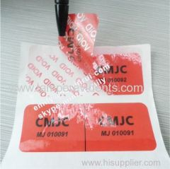 Red VOID stickers for tampered security warranty labels