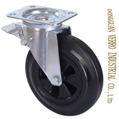 Locking garbage container casters