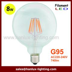 8W E27 G95 LED filament bulbs