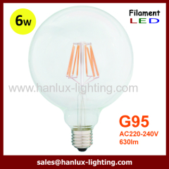 E27 6W G95 LED filament bulbs
