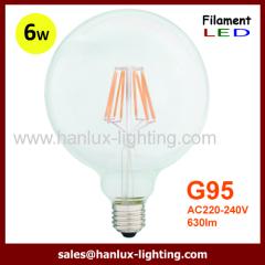 E27 6W G95 LED filament bulbs