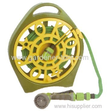 15M Flat water hose pipe with reel and nozzle