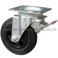 waste container rubber wheel swivel casters with brake