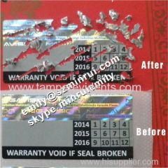 Embossed Hologram Destructible LWarranty Stickers
