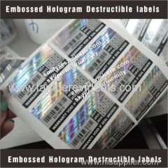 Self Destructible Labels With hologram and barcode