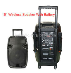 15inch portable speaker with battery/wireless microphone
