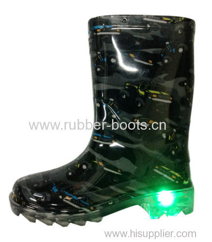Kids PVC Rain Boots with LED Lights