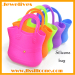 Fashion big silicone handbag with a diamond buttom