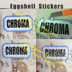 Black Printing on White Destructive Eggshell Paper Label Sticker