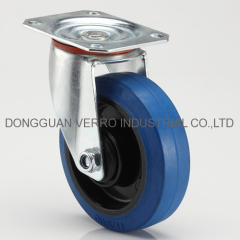 Industrial top plate swivel elastic rubber casters