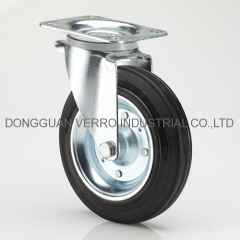 8 inches rubber wheel garbage container casters with swivel head