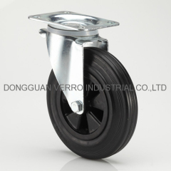 8 inches black rubber garbage container casters