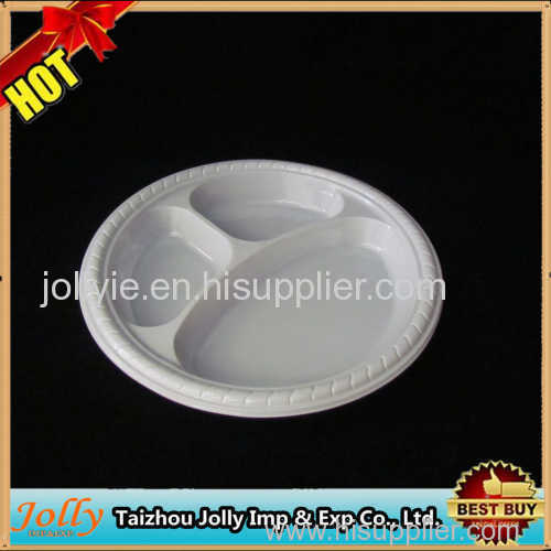colorful disposable three compartment plate plastic