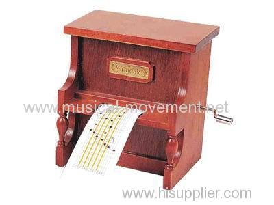 WOODEN ORGAN HAND CRANK MUSIC BOX GIFTS 15 NOTE PAPER MUSIC BOX MOVEMENT DIY SONGS