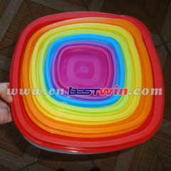 Plastic rainbow food container storage