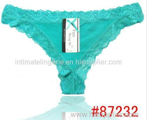 2014 new Lace trim cotton g-string hot lady thong sexy t-back