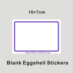 writable blank with blue borders eggshell stickers