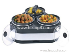3 round pans electric warming tray