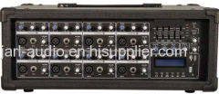 8 channel power cabinet mixer with USB and EQ