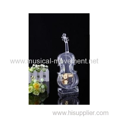 ACRYLIC TRANSPARENT MUSICAL VIOLIN METAL GOLDEN 18 NOTE KEY WIND MUSIC BOX MOVEMENT