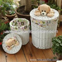 white wicker laundry basket