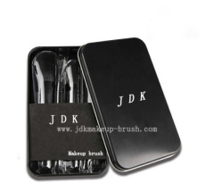 Black handle makeup brush set in case