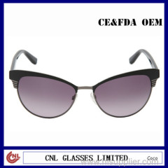 Wholesale Designer Sunglasses in China Oval Metal Acetate Combination Sunglasses